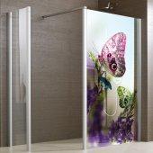 Transparentna Naklejka na Kabiny Prysznicowe Kolor - Motyle
