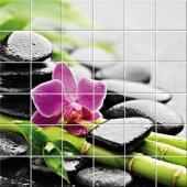 vinilo azulejos flor con guijarro