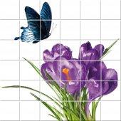vinilo azulejos flor con mariposa