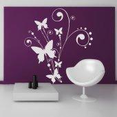 Wandtattoo Blüte mit Schmetterlingen