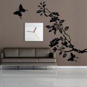 Wandtattoo Floraler Zweig mit Schmetterlingen