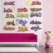 Autocollant Stickers muraux ado kit 15 graffitis