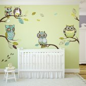 Autocollant Stickers muraux enfant kit 4 branches hiboux