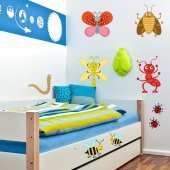 Autocollant Stickers mural enfant kit 9 insectes