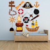 Autocollant Stickers mural enfant kit 15 accesoires pirates