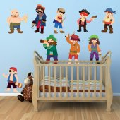 Autocollant Stickers mural enfant kit 9 pirates