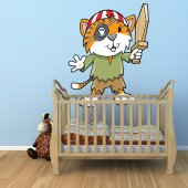 Autocollant Stickers mural enfant chat pirate