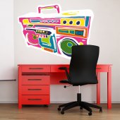 Autocollant Stickers mural ado poste radio multicolore