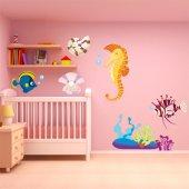 Kit Adesivo Murale bambini pesci e conchiglie