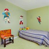 Kit Autocolante decorativo infantil 3 piratas