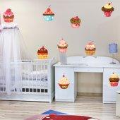 Komplet 9 naklejek - Babeczki Cupcake
