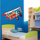 Autocollant Stickers enfant ourson avion